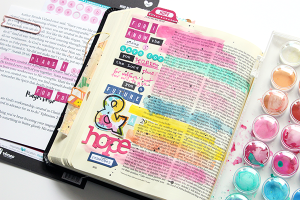 Ashle y Horton   Jer 29:11   mixed media Bible art journaling   Illustrated Faith Brave Kit   Illustrated Faith Genesis Kit by Bella Blvd