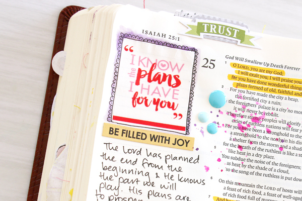 Natalie Elphinstone | I Know The Plans | Bible Journaling | washi tape, stamping, journaling | Illustrated Faith Genesis Collection by Bella Blvd