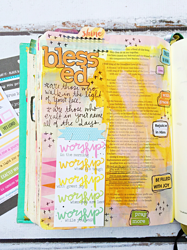 Janel MacLean | Shine | One Little Word® | Illustrated Faith Genesis Collection by Bella Blvd | mixed media art journaling Bible
