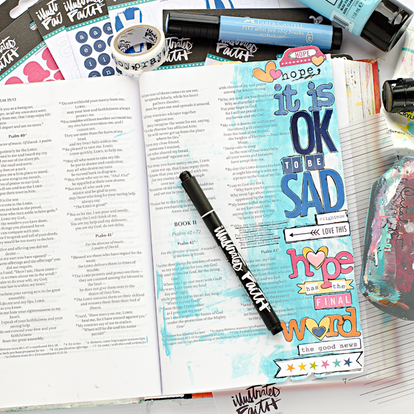 Heather Greenwood | It Is OK To Be Sad, Hope Has The Final Word | mixed media bible art journaling | coloring white alphabets tutorial | Illustrated Faith Genesis Collection by Bella Blvd
