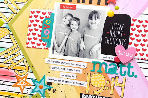 Ashley Horton   Documenting your faith in action with a faith based scrapbook layout   Child Like Faith   Illustrated Faith and Bella Blvd Whatever Is Lovely and Genesis Collections
