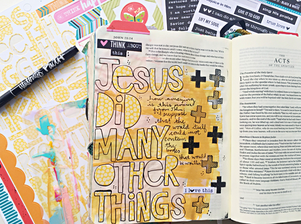 Janel MacLean | Jesus did many other things... | mixed media art journaling Bible | Illustrated Faith by Bella Blvd