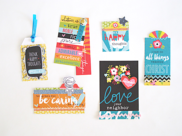 bookmarks and tags using the Illustrated Faith Whatever Is Lovely Collection by Bella Blvd