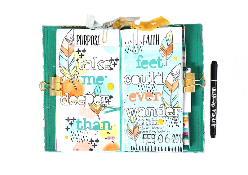 a mixed media art journal page inspired by the lyrics to Hillsong's Ocean using Illustrated Faith stamps and watercolors by Gina Liberos