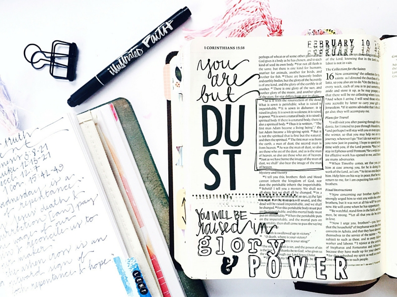 1 Cor 15 | you will be raised | Glory and Power by Tawni Sattler | mixed media bible journaling | hand lettering