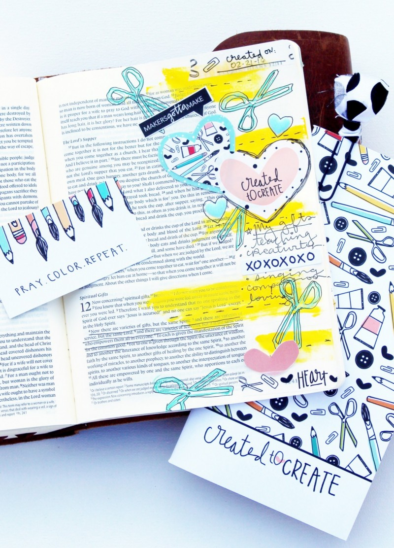 Janel MacLean is sharing her mixed media art journaling Bible page and what she is learning from the Illustrated Faith Created to Create devotional about creativity being a spiritual gift
