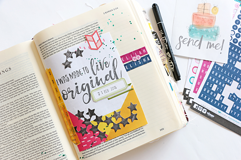 Natalie Elphinestone is creating with the freebie Illustrated Faith printables and sharing a video of how she uses them in her Journaling Bible.