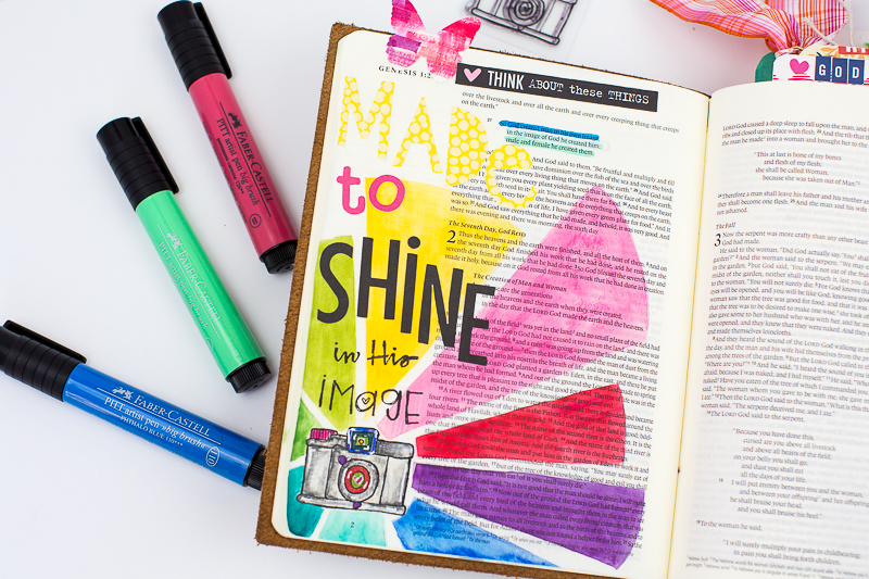 Amy Bruce is sharing with us her step by step process in creating this mixed media art journaling Bible page about being made to shine in His image