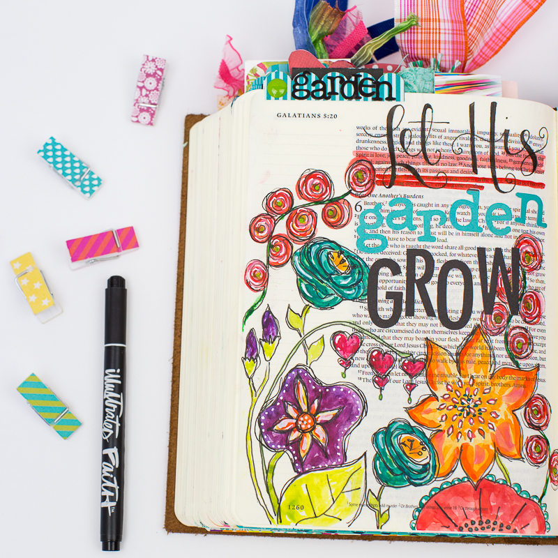 a step by step process showing how this mixed media art journaling Bible page was created by Amy Bruce | Let His garden Grow Galatians 5:22-26 ESV | Illustrated Faith by Bella Blvd Genesis Collection | watercolors