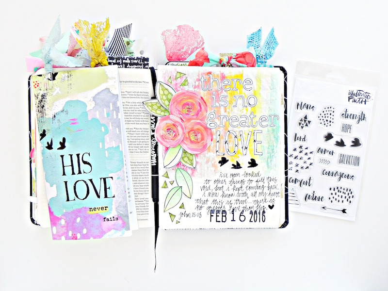 There Is No Greater Love | a step by step mixed media art journal page tutorial journaling from the Illustrated Faith His Love devotional | Illustrated Faith His Love Never Fails devotional | Illustrated Faith by Bella Blvd