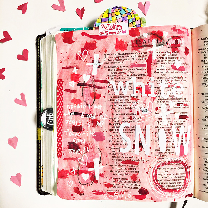 Illustrated Faith mixed media art journaling Bible - Nothing but the Blood hymn - White as Snow by Gina Mazane