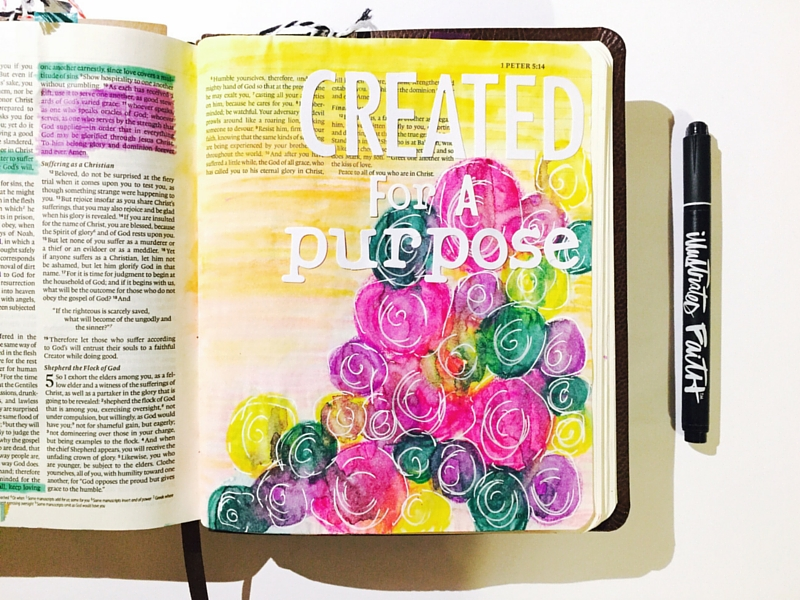 1 Peter 4:10-11 - created for a purpose | Illustrated Faith mixed media art journaling with neocolors II by Tawni Sattler
