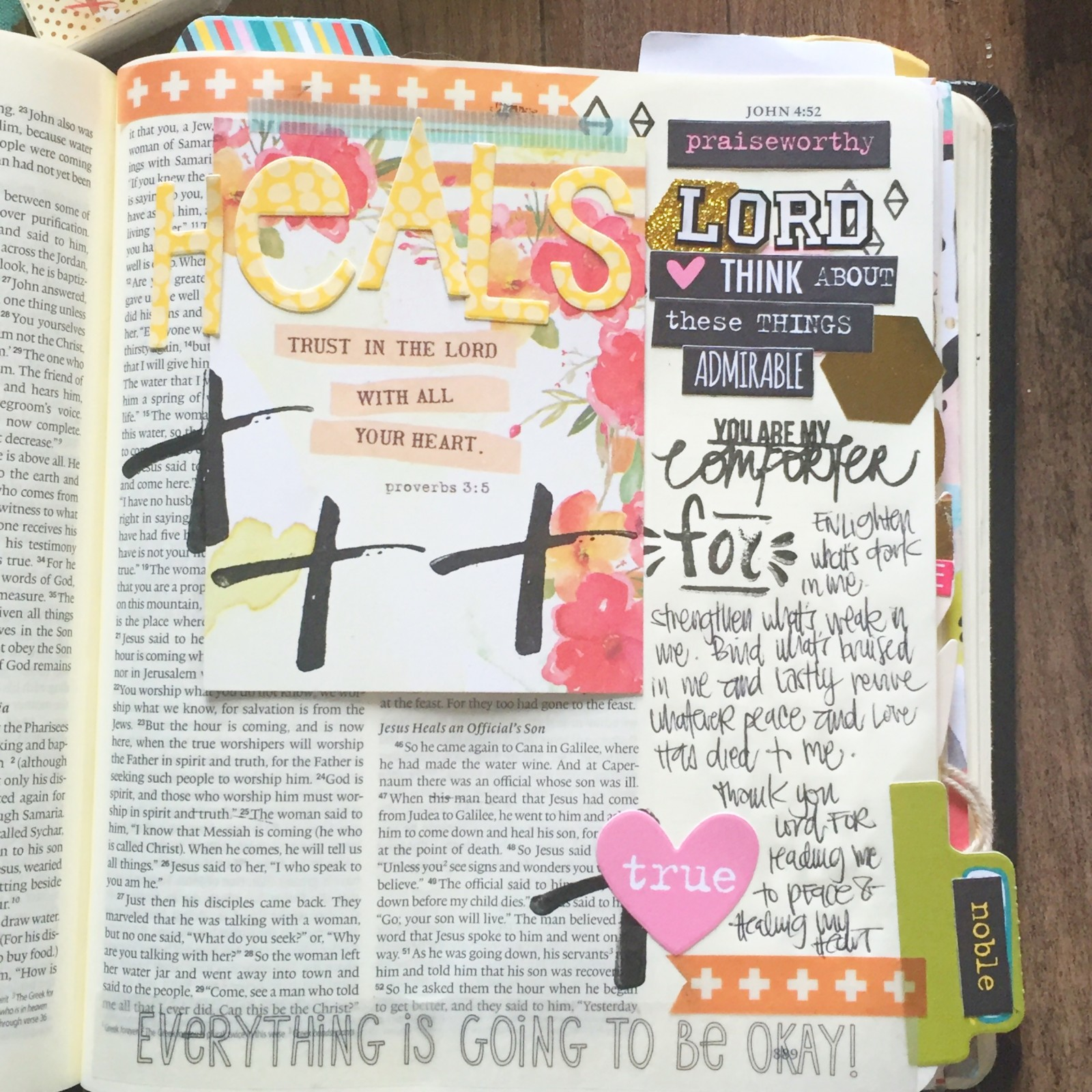 Bible journaling process video on healing and getting back into the groove with Florence Antonette
