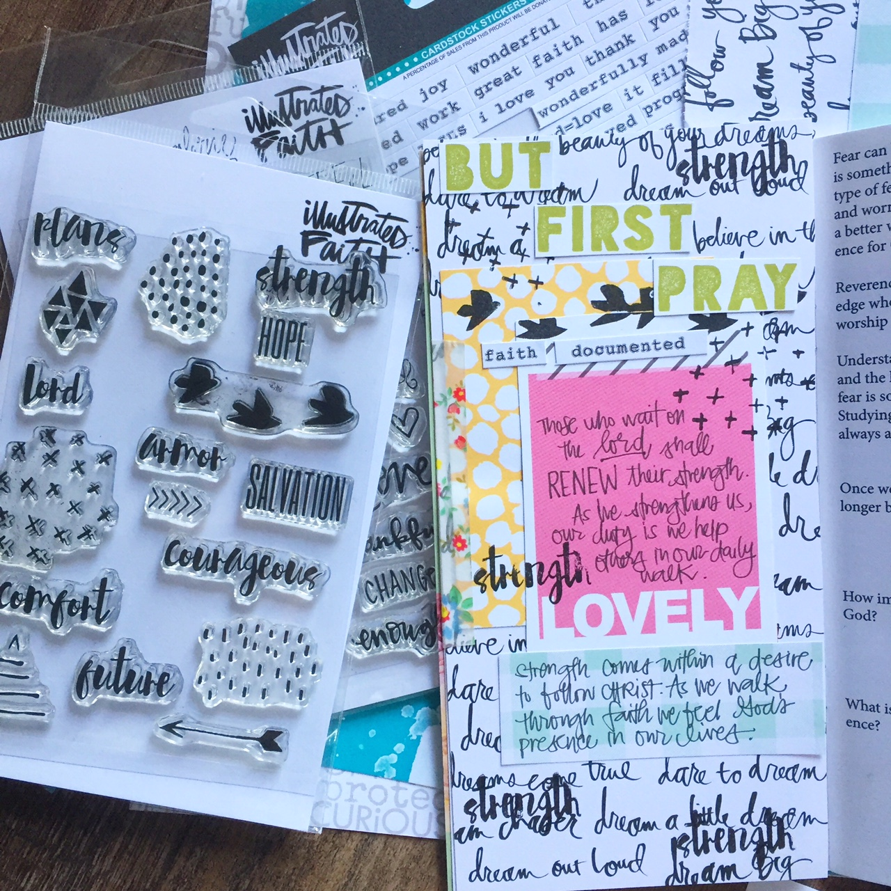 Florence Antonette is sharing a process video and her faith journaling using the Illustrated Faith His Love Never Fails devotional