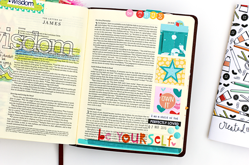 Bible journaling process video from Natalie about being yourself and how she likes the scrapbooking style in her Bible | Illustrated Faith Created to Create devotional