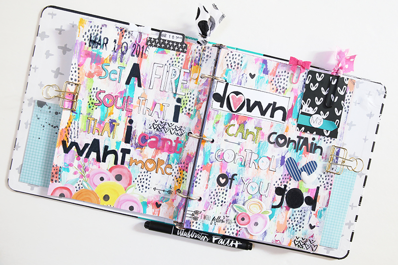 mixed media art journal page by Gina Lideros in her Illustrated Faith Praise Book | Set A Fire Down In My Soul by Jesus Culture