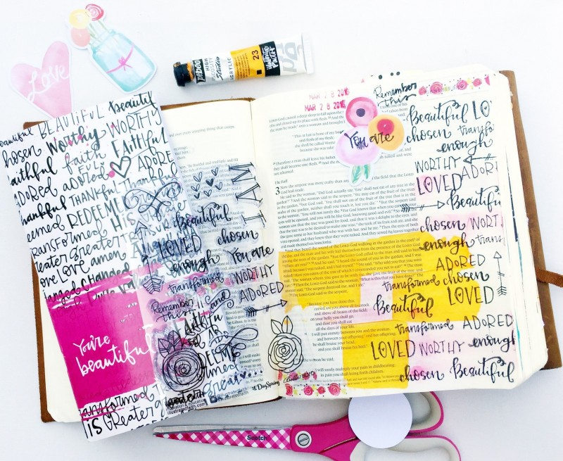 Janel MacLean is sharing with us her mixed media art journaling Bible pages as she's going through the Illustrated Faith Beautiful devotional
