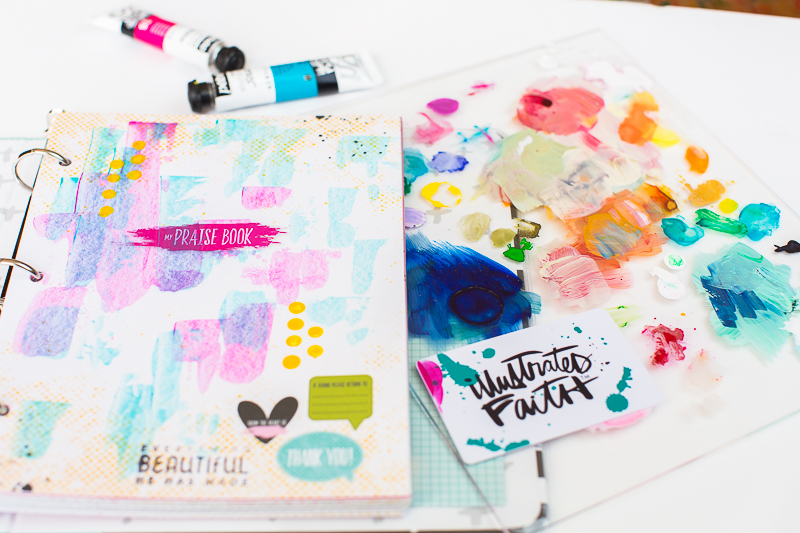 step by step process for this mixed media art journal page in the new Illustrated Faith Praise Book