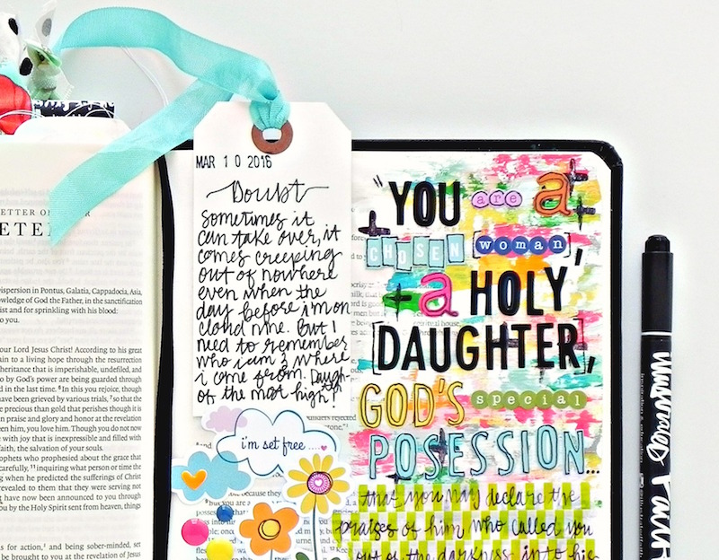 a mixed media art journaling Bible entry by Stephanie Buice based off of 1 Peter 2:9 | A Confident Heart by Renee Swope | You are a chosen woman, a holy daughter, God's special posession
