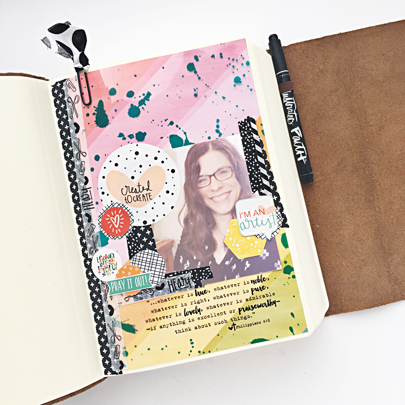 Heather Greenwood is breaking in her new ESV Interleaved Journaling Bible and sharing how she feels about adding a selfie to the name page in her Bible | Illustrated Faith by Bella Blvd Whatever Is Lovely Collection | Illustrated Faith Created to Create Devotional Kit