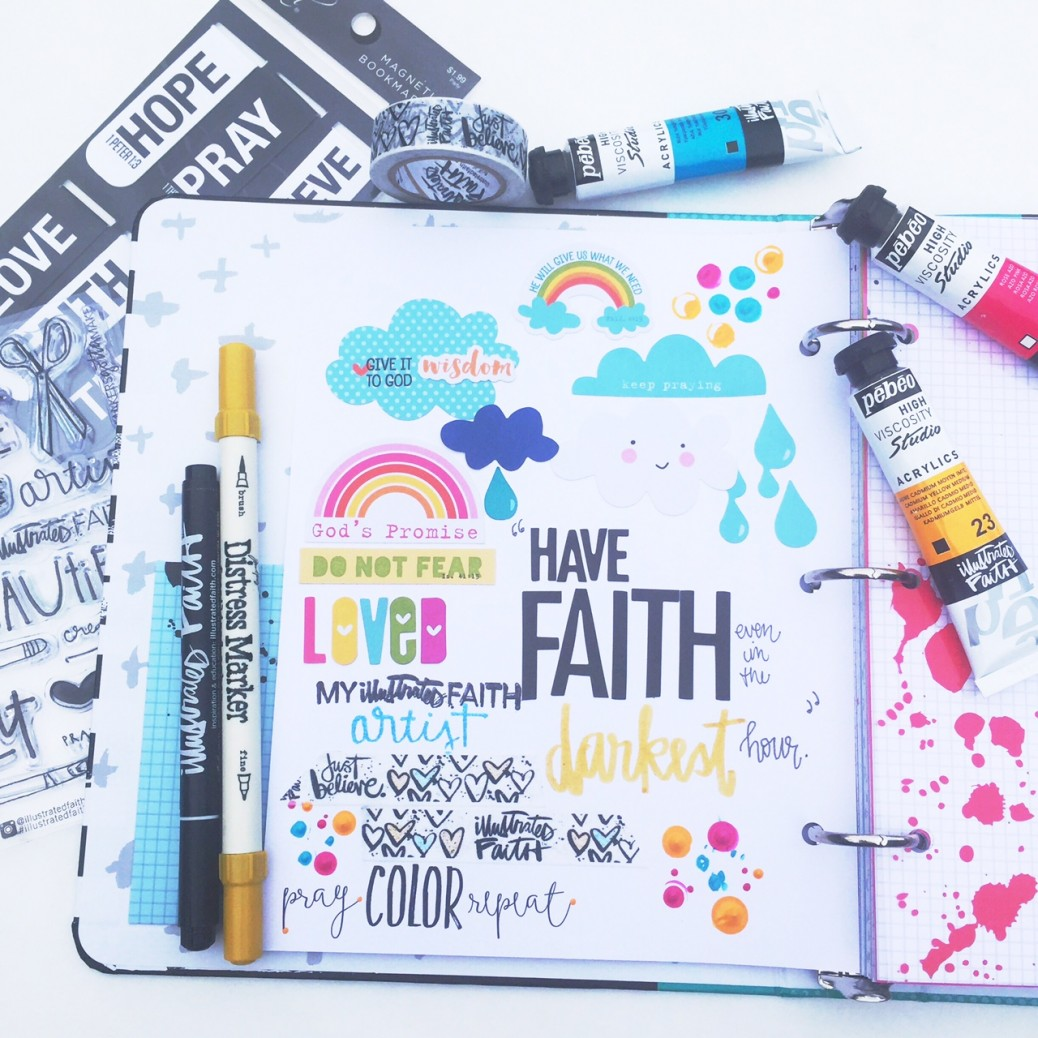 Florence is sharing a process video of creating a page in the new Illustrated Faith Praise Book   mixed media art journaling