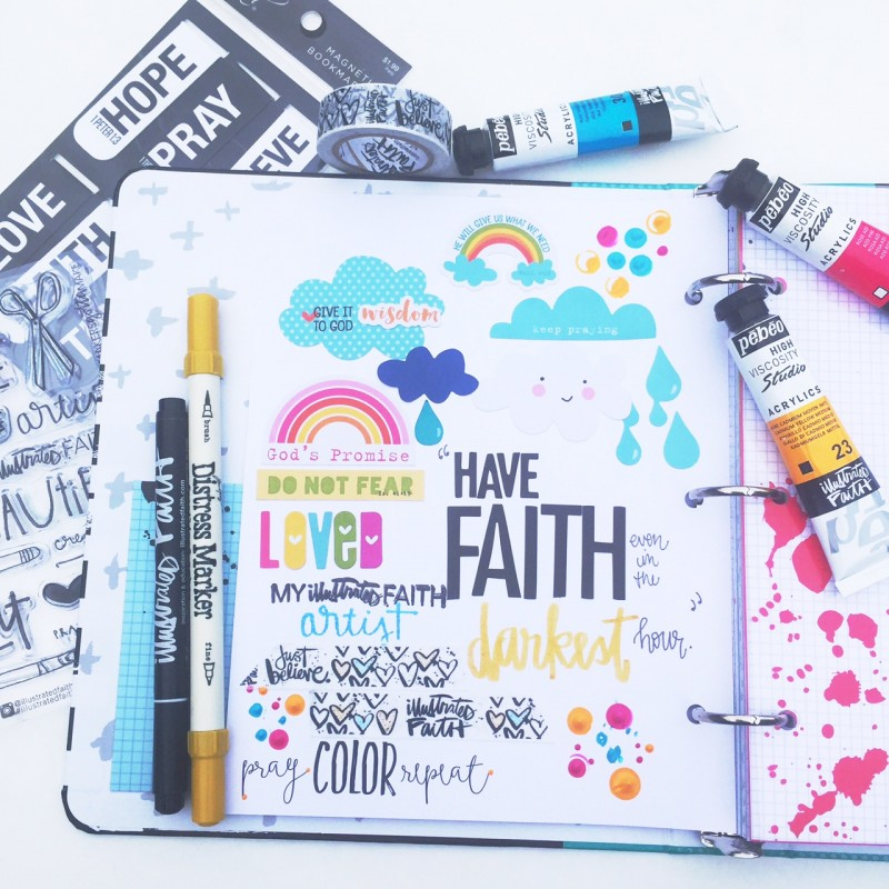 Florence is sharing a process video of creating a page in the new Illustrated Faith Praise Book | mixed media art journaling