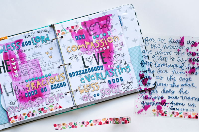 Jess Robyn is sharing her mixed media art journaling letters and scriptures from her Illustrated Faith Praise Book