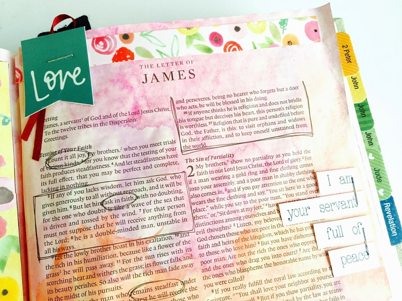 watercolor mixed media art journaling Bible page by Tawni based on James 1 and 2 and the song Follow You by Leeland   ESV Interleaved Journaling Bible