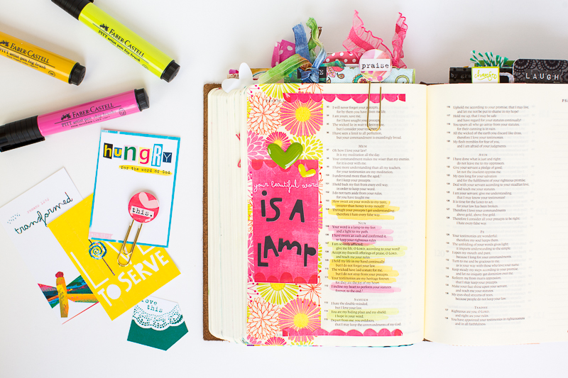 step by step tutorial mixed media journaling Bible page using printables, washi and marker by Amy Bruce
