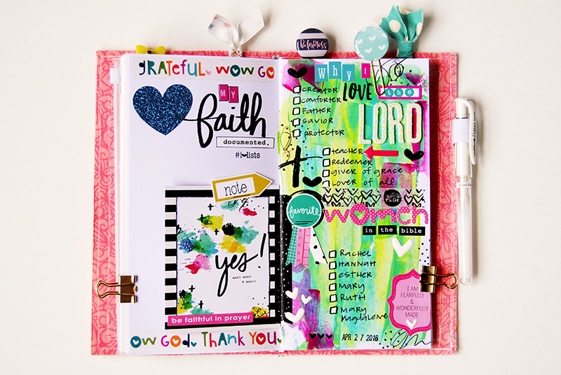 mixed media art journal Illustrated Faith List by Faith page by Elaine Davis - taking cues from the Illustrated Faith print pray shop printables
