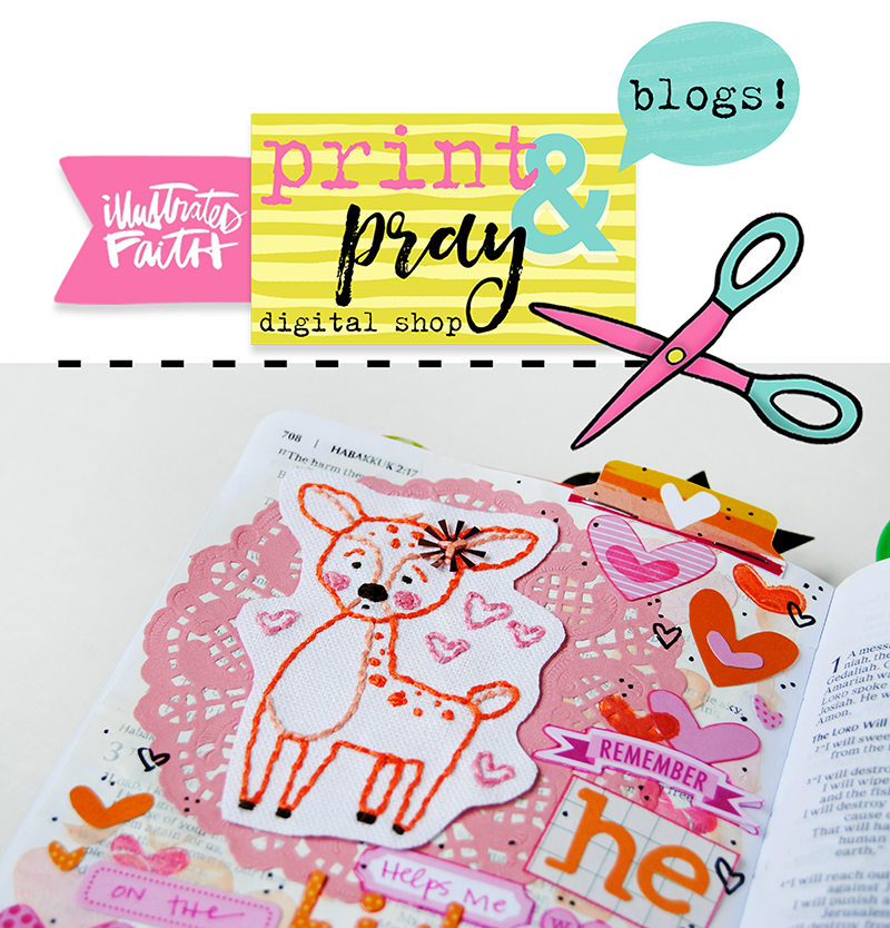 step by step tutorial using Illustrated Faith Print Pray Trace traceables for creating embroidered embellishments for your Journaling Bible by Elaine Davis