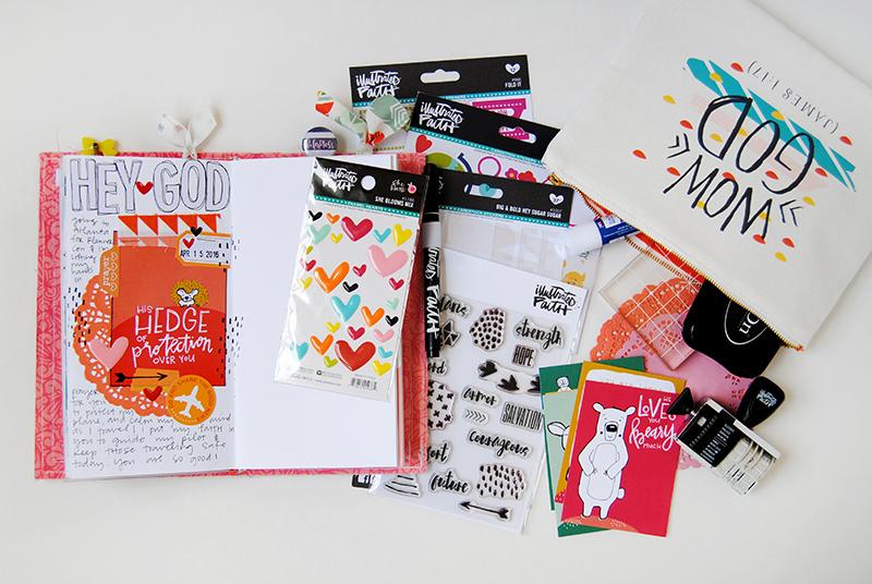 Elaine's traveling kit for illustrating her faith on the plane | traveler's notebook