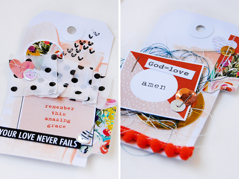Elaine Davis is making hybrid paper crafting gift tags using Print Pray Journal Wild Love Printables and Illustrated Faith by Bella Blvd paper pieces