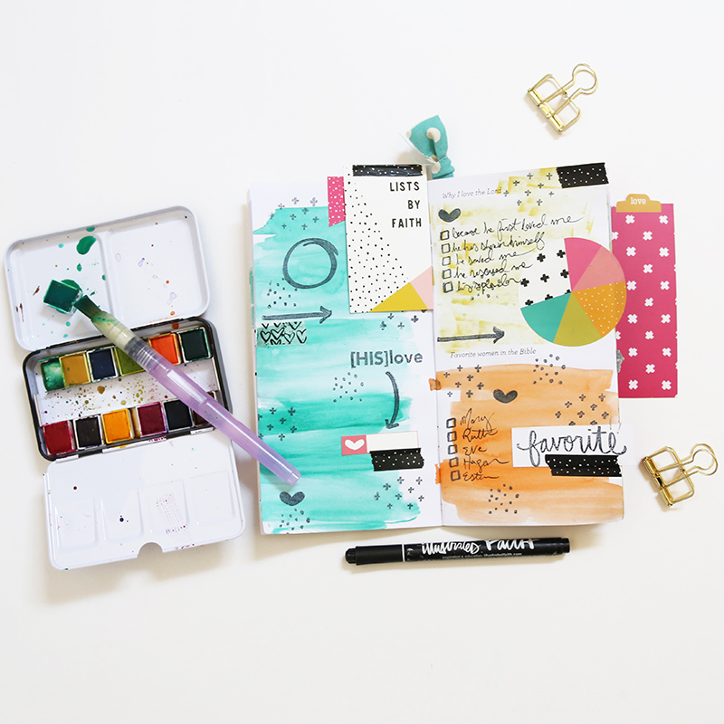 mixed media art journal list by Gina Lideros in the Illustrated Faith Lists by Faith kit featuring The Reset Girl