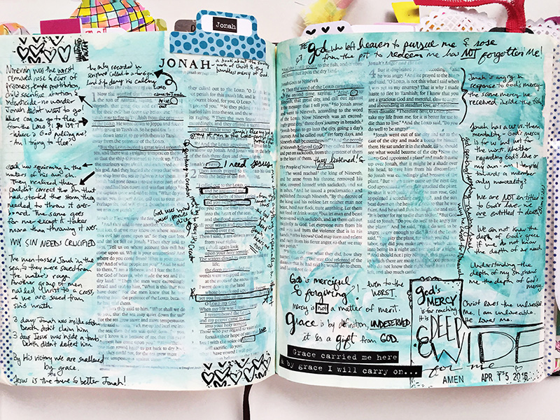 Gina is sharing with us some creative notetaking tips in Jonah in her Journaling Bible