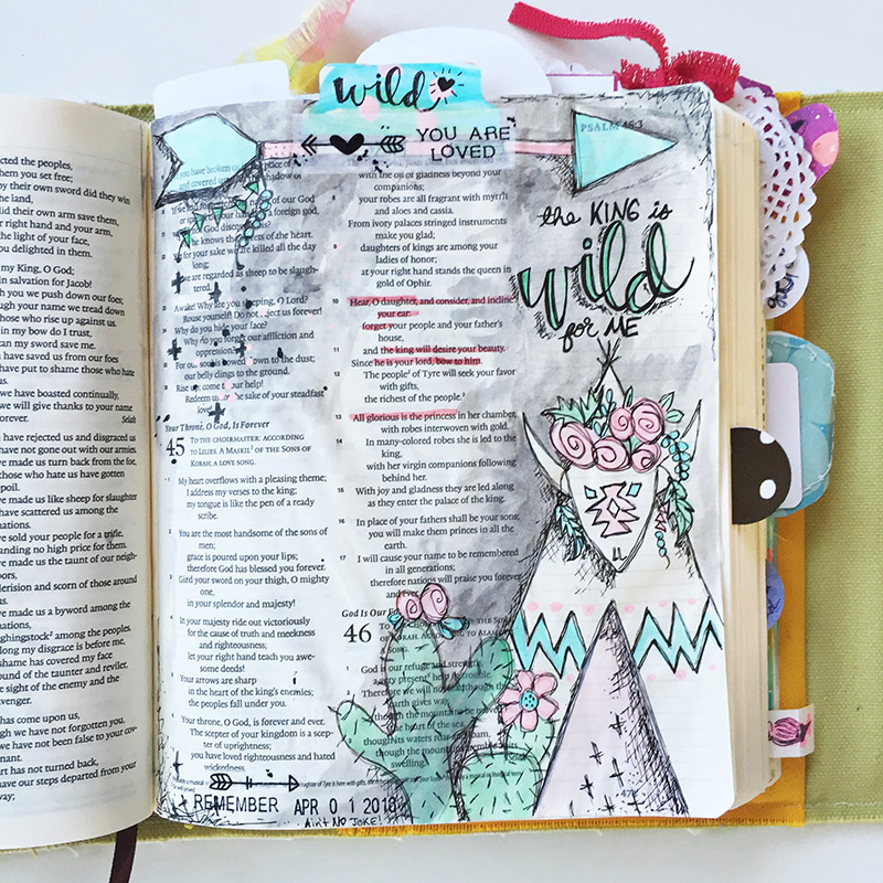 mixed media art journaling Bible entry based on Psalm 45 and the Illustrated Faith Beautiful devotional using the traceble printables from the Illustrated Faith shop