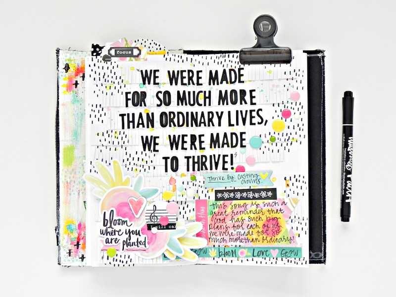 mixed media art journaling page inspired by Casting Crown's Thrive and some fun scrapbooking techniques to layer fringe papers