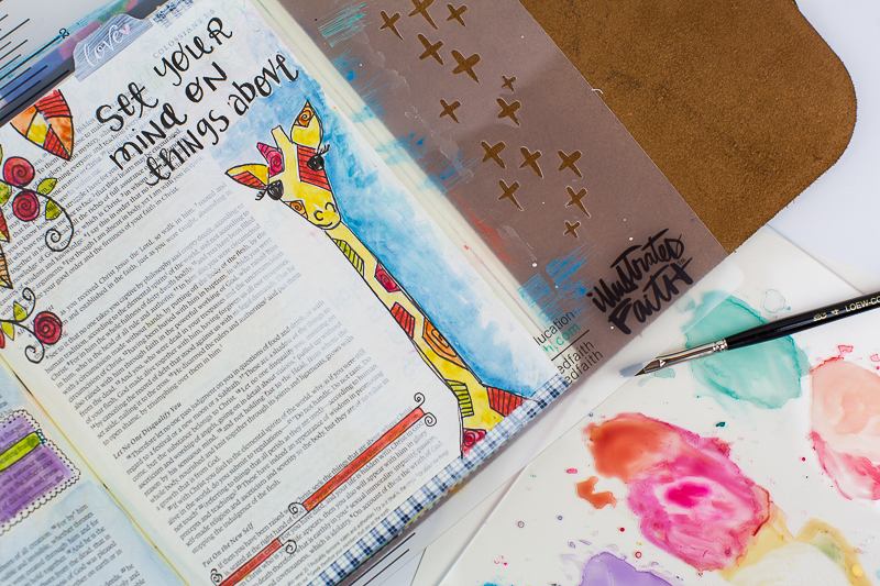 Amy Bruce shows how to add this adorable giraffe illustration to her Journaling Bible and shares the need to focus on things above