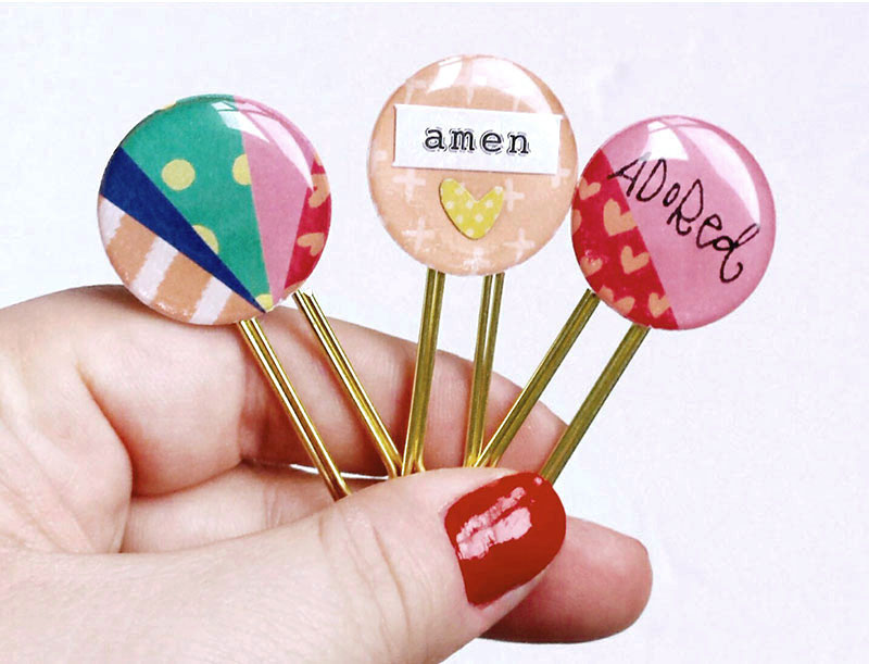 hybrid tutorial by Elaine Davis creating epoxy clips from Illustrated Faith printables