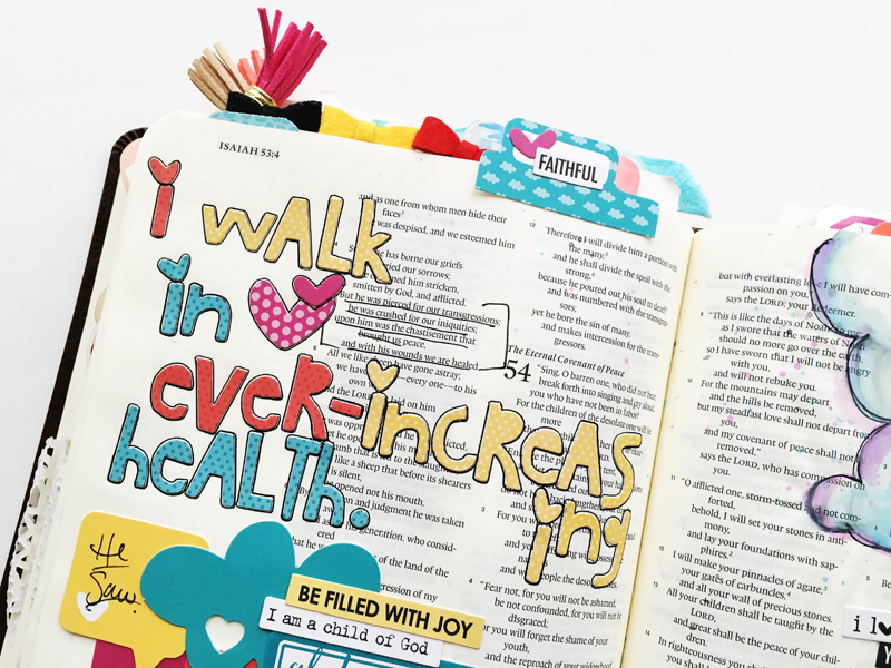 list of declarations and scriptures illustrated in her Journaling Bible by Bailey Jean Robert