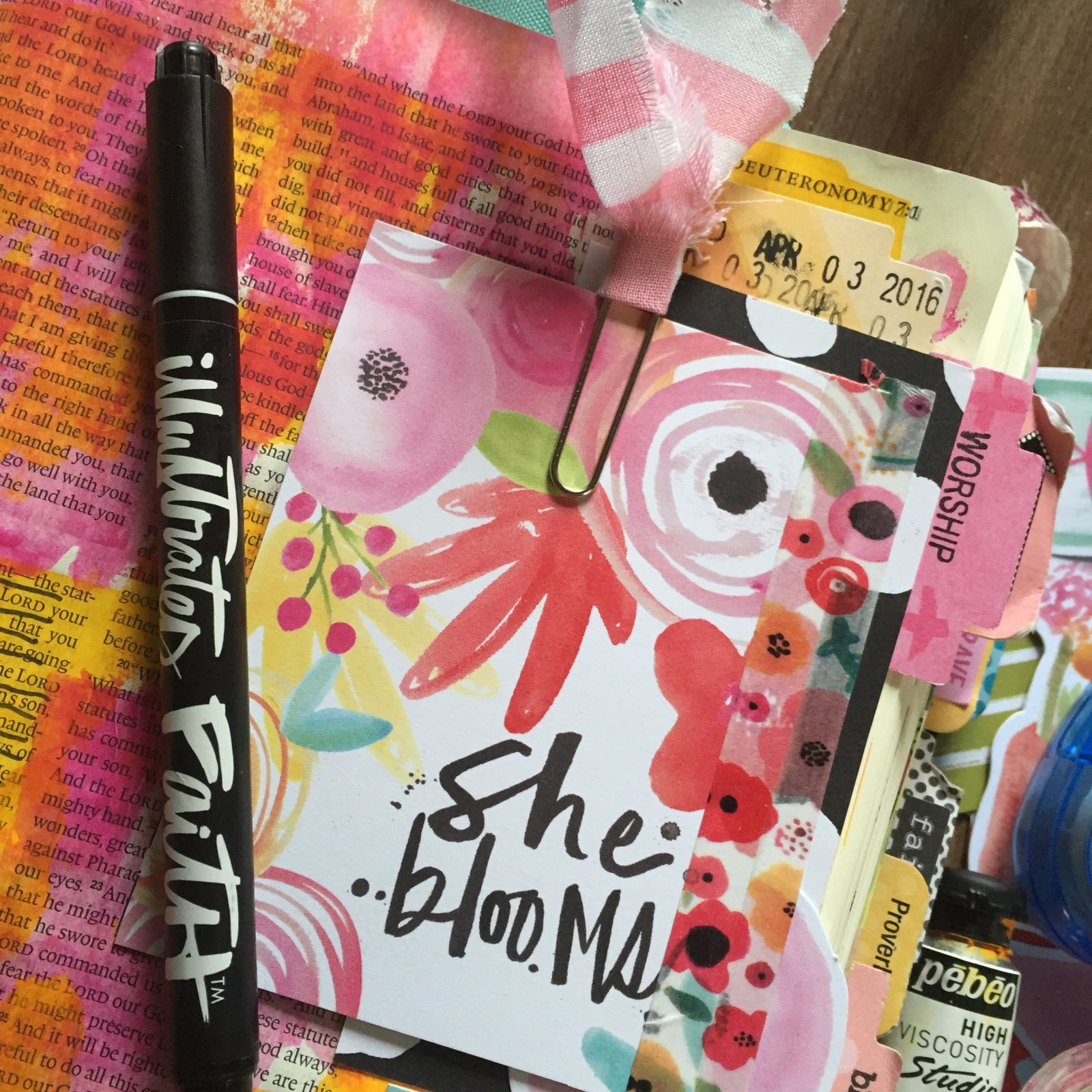 process video showing a few fun things you can do and add to your Journaling Bible by Florence Antonette