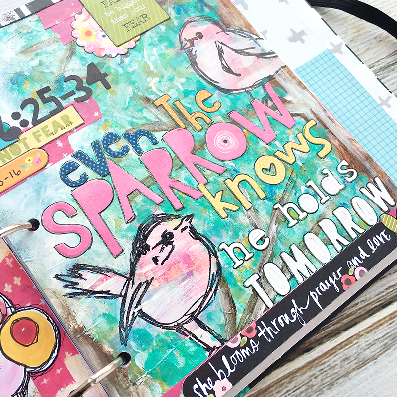 mixed media art journal entry for anxiety and worry inspired by the song Sparrows by Jason Gray | Matthew 6:25-34 | Illustrated Faith Praise Book by Bella Blvd | Heather Greenwood