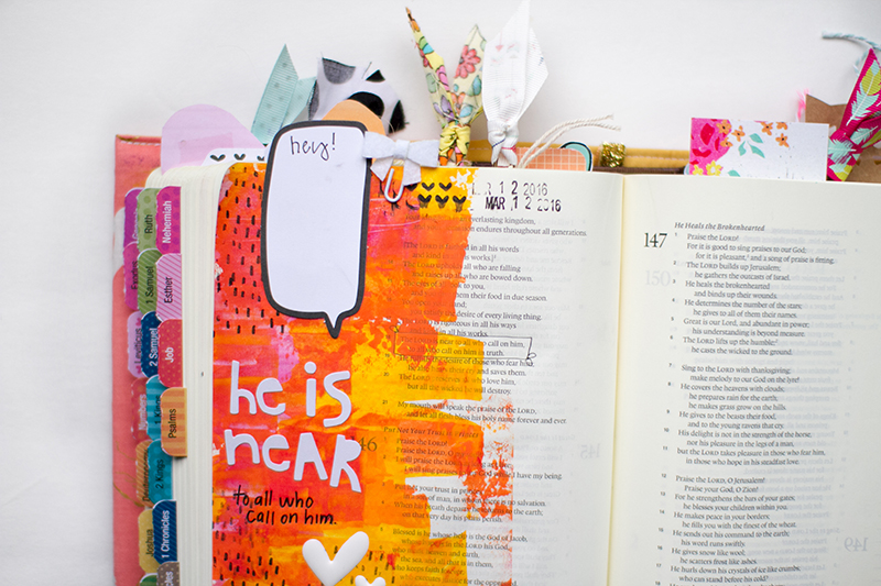 mixed media art journal reminder by Leah about always going to God as your best friend and having conversations with Him | Psalm 145:18