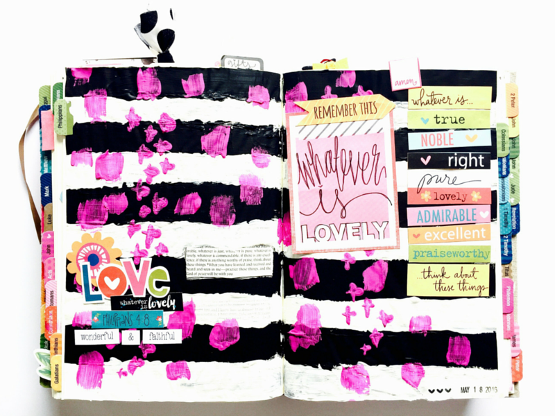 mixed media art journaling Bible page on Philippians 4:8-9 | and reflecting on changing mindset because life is beautiful by Tawni Sattler