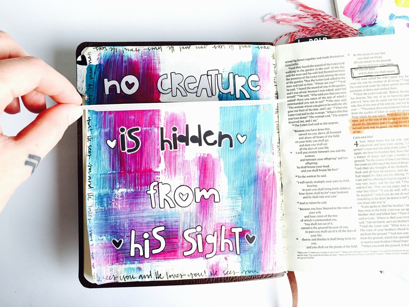 Are you trying to hide from God? Mixed media art journaling Bible page by Tawni Sattler | Genesis 3:10