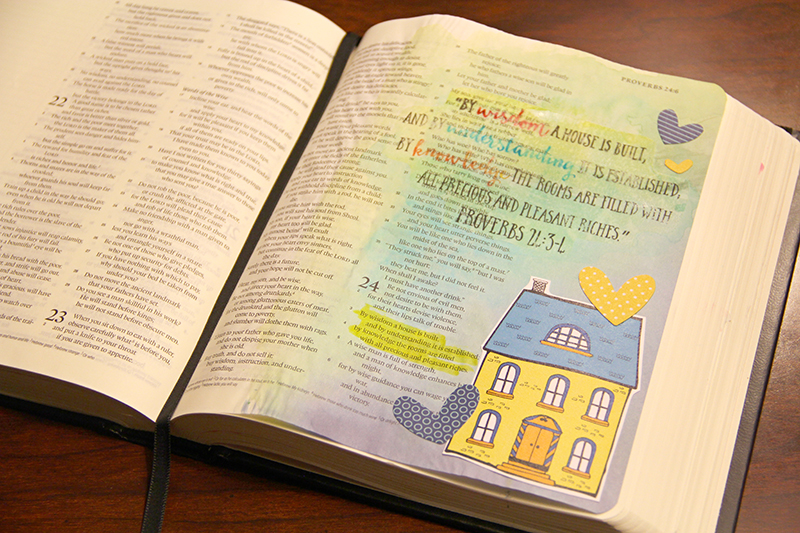 mixed media hybrid art journaling Bible entry by Allie Trumpower using printables she designed for Illustrated Faith
