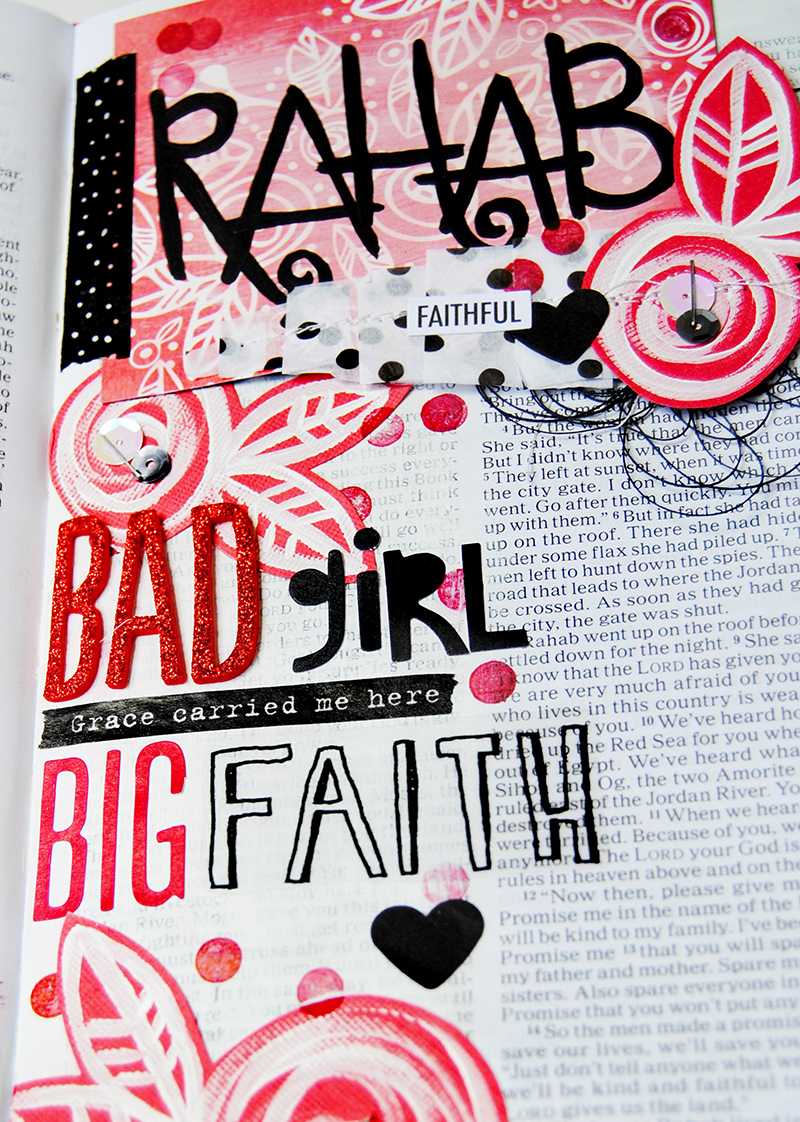 mixed media paper crafting Bible journaling page by Elaine Davis | Rahab: Bad Girl, Big Faith