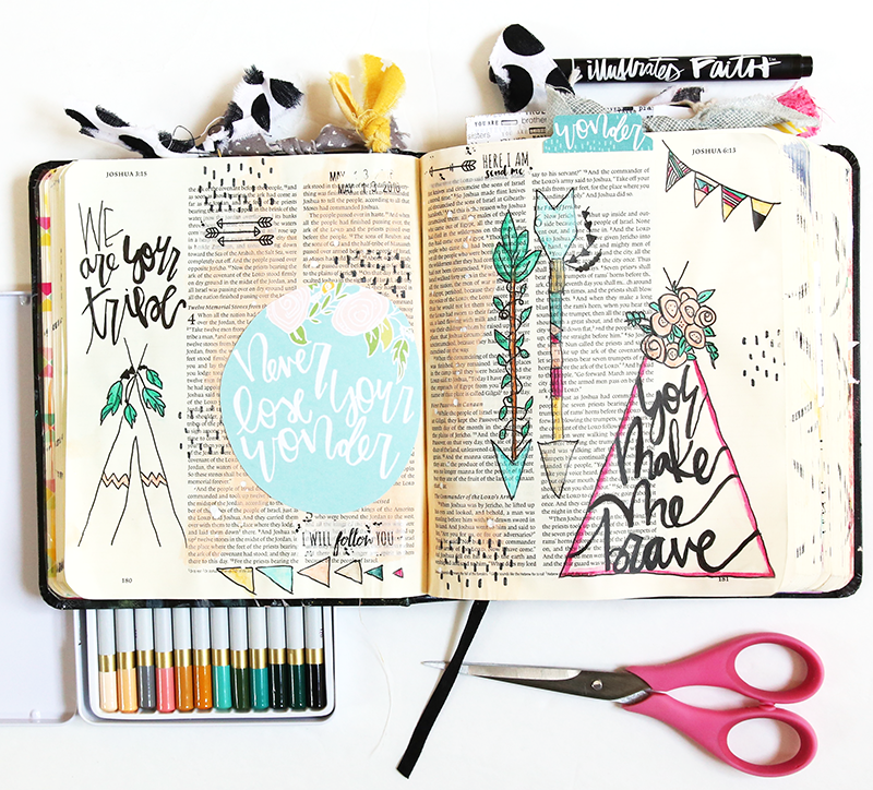 mixed media hybrid Bible journaling in Joshua 6 | He Has Made Me Brave by Gina Lideros | Illustrated Faith #prayprintshop