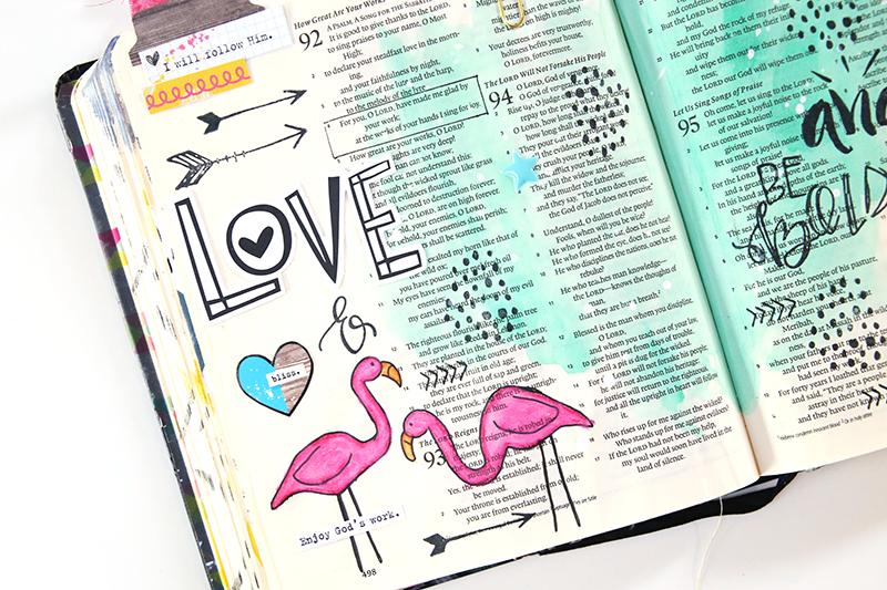 mixed media, watercolor, hybrid art journaling Bible page by Gina Lideros