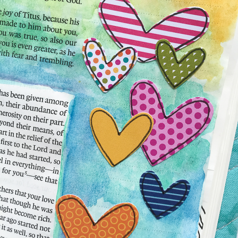 watercolor Bible journaling page giving generously by Bekah Blankenship | 2 Corinthians 8